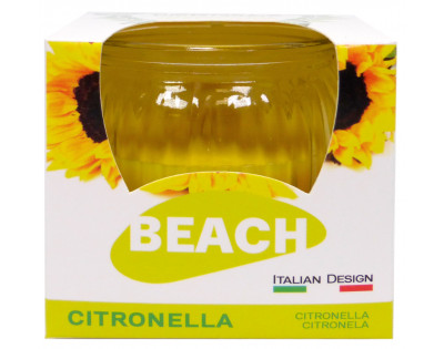 Candela Citronella RIGHE in Vetro